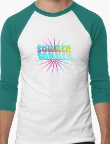 Bright Colorful Popping Summer Text Graphic Men's Baseball ¾ T-Shirt
