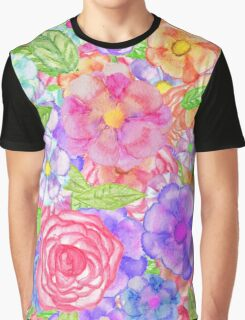 Pretty Hand Painted Watercolor Floral Collage Graphic T-Shirt