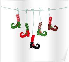 Cute colorful Santa legs handing Poster