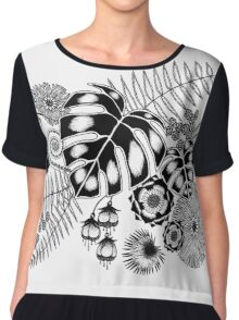 Tropical Leaves and Flowers Chiffon Top