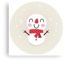 Beautiful funny Snowman { Retro style } Canvas Print