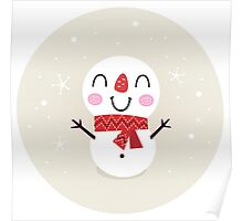 Beautiful funny Snowman { Retro style } Poster
