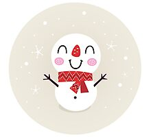 Beautiful funny Snowman { Retro style } Photographic Print