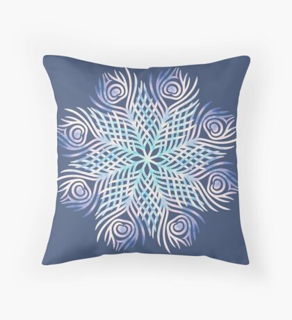Peacock feathers / Mandala Throw Pillow