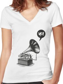 Hip-Hop Gramophone Women's Fitted V-Neck T-Shirt