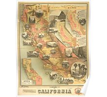 Map of California c1890s Poster