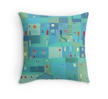 Blue town from the steps Throw Pillow