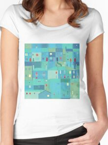 Blue town from the steps Women's Fitted Scoop T-Shirt