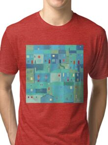 Blue town from the steps Tri-blend T-Shirt