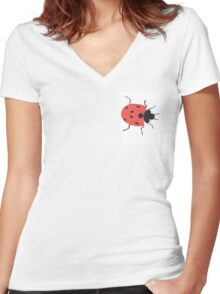 Oil Pastel LadyBird Women's Fitted V-Neck T-Shirt