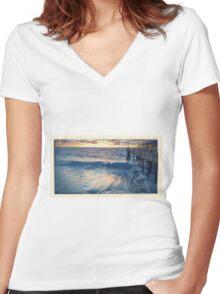 Waves - Redondo Beach Pier  Women's Fitted V-Neck T-Shirt