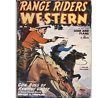 """Range Riders"" Vintage Western Pulp Magazine Cover Photographic Print"