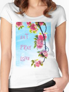 Pink Cherry Blossoms on Branch Women's Fitted Scoop T-Shirt