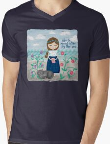She is most alive by the sea Mens V-Neck T-Shirt