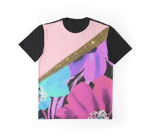Pretty Girly Pink Gold Glitter and Purple Flowers Graphic T-Shirt