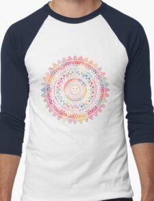Rainbow Kitty Cat Mandala Men's Baseball ¾ T-Shirt