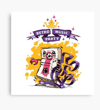 Retro Music Party Poster Canvas Print