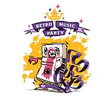 Retro Music Party Poster Photographic Print