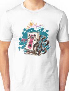 Cartoon Audio Cassette Tape on Dark Background Unisex T-Shirt