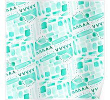 Watercolor Pattern Play in Green Poster
