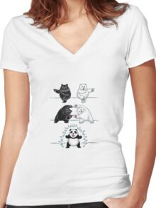 Panda Fusion Women's Fitted V-Neck T-Shirt