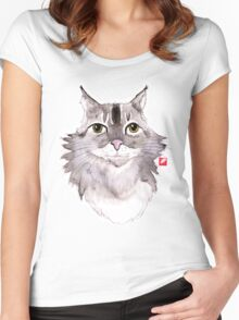 Majestic Meow - watercolor cat Women's Fitted Scoop T-Shirt