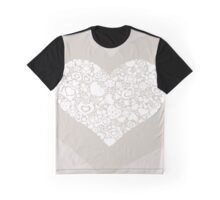 Valentites heart of objects white on biege Graphic T-Shirt