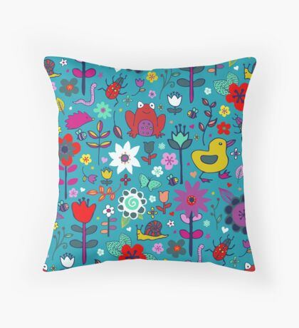 Ducks and Frogs in the Garden Throw Pillow