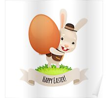 Happy Easter Bunny With Egg Poster