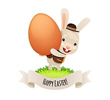 Happy Easter Bunny With Egg Photographic Print