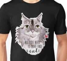 Majestic Meow & Love - watercolor cat with quote Unisex T-Shirt