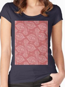 Coral Paisley Aztec Tribal Indian Pattern Women's Fitted Scoop T-Shirt