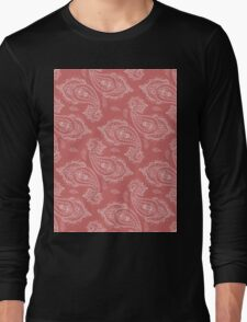 Coral Paisley Aztec Tribal Indian Pattern Long Sleeve T-Shirt