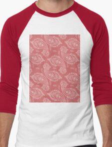 Coral Paisley Aztec Tribal Indian Pattern Men's Baseball ¾ T-Shirt