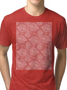 Coral Paisley Aztec Tribal Indian Pattern Tri-blend T-Shirt