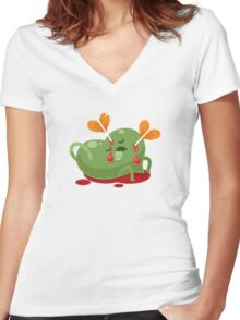 Dead Valentines heart Women's Fitted V-Neck T-Shirt
