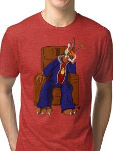 Gangster Rabbit smoking cigar Tri-blend T-Shirt