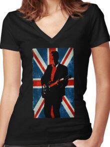 Twelve's Guitar, Hell Bent Doctor Who Women's Fitted V-Neck T-Shirt