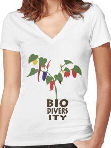 Biodiversity Chilis Women's Fitted V-Neck T-Shirt