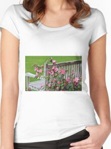 Pink Flowers By The Bench Women's Fitted Scoop T-Shirt
