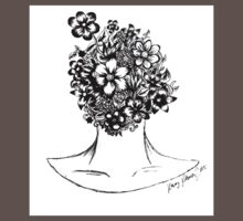 Black and White Flower Head One Piece - Short Sleeve