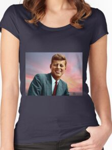 Colorized John F. Kennedy Women's Fitted Scoop T-Shirt