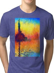 Abstract Impressions lake sea sunset sunrise Tri-blend T-Shirt