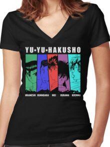Yu Yu Hakusho - Urameshi, Kuwabara, Hiei, Kurama, Koenma Women's Fitted V-Neck T-Shirt