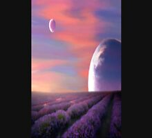 alien planets lavender fields nature surreal fantasy sunset sunrise plants Unisex T-Shirt