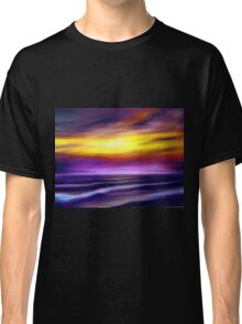 nature seascape landscape sunset sunrise tropical beach blue purple yellow Classic T-Shirt