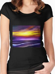 nature seascape landscape sunset sunrise tropical beach blue purple yellow Women's Fitted Scoop T-Shirt