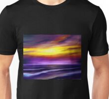 nature seascape landscape sunset sunrise tropical beach blue purple yellow Unisex T-Shirt