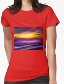 nature seascape landscape sunset sunrise tropical beach blue purple yellow Womens Fitted T-Shirt