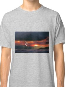sunset beach storm lightning ocean water trees mountain landscape seascape Classic T-Shirt